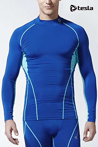 TM-T12-BSSZ_X-Small j-S Tesla Men's Cool Dry Compression Baselayer Mock Long Sleeve T Shirts T12 -
