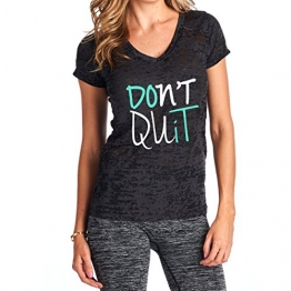 Tough Cookie's Women's Don't Quit Burnout V-Neck Top (Medium, Black) -
