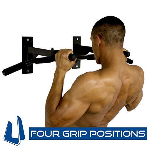 Ultimate Body Press Wall Mount Pull Up Bar with Four Grip Positions -