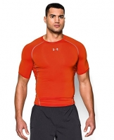 Under Armour Men's HeatGear Armour Short Sleeve Compression Shirt, Dark Orange/Steel, Medium -