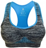 Women's Seamless Sports Bra High Impact Pocket Yoga Bras XL Blue -