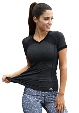 Women's Short Sleeve Workout Tee Yoga Running Biking Sports T-Shirt Fast Dry (Medium, Grey) -