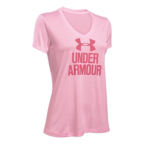 Women's Under Armour Graphic Twist Tech V-Neck, Petal Pink, Medium -
