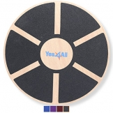 Yes4All Wooden Wobble Balance Board - Exercise Balance Stability Trainer 15.75 inch Diameter - Black - ²DB6FZ -